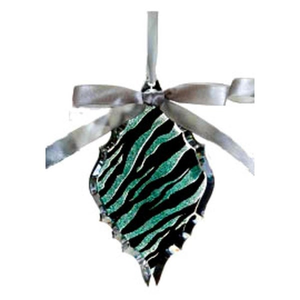 "5.75"" Glittered Teal Zebra Print Diamond Prism Christmas Ornament - green"