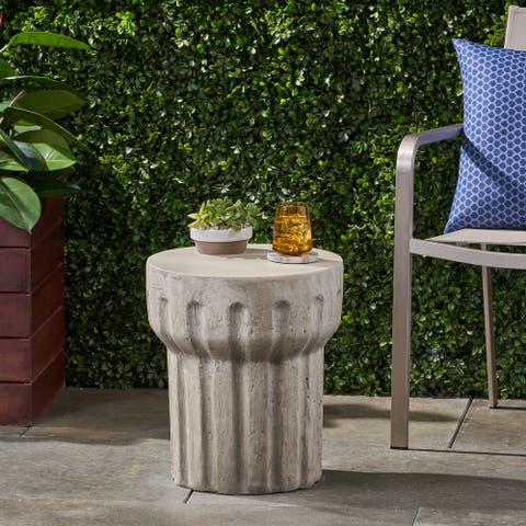 """Delphinus Outdoor Contemporary Lightweight Concrete Accent Side Table by Christopher Knight Home - 15.75""""W x 15.75""""D x 18.00""""H"""