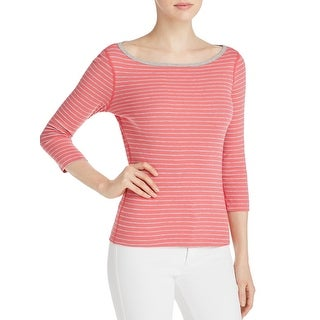 Three Dots Womens Casual Top Striped 3/4 Sleeve
