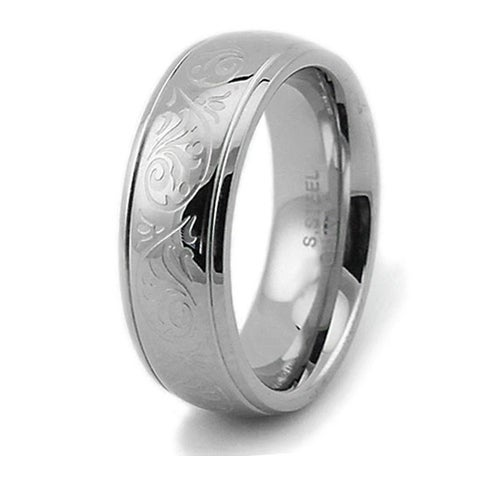 Engraved Floral Design Stainless Steel Women's Ring 7.5mm