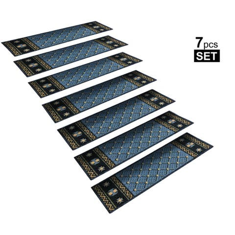 """Non-Slip Mats Rubber Backing Stair Treads Set of 7 ( 8.5"""" x 26"""" )"""
