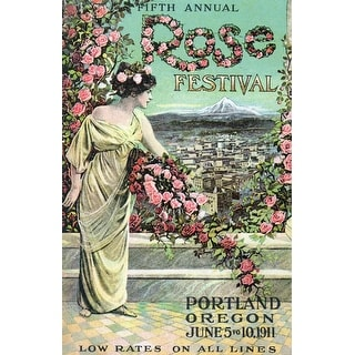 Portland, Oregon - Fifth Annual Rose Festival - Vintage Advertisement (Acrylic Serving Tray)
