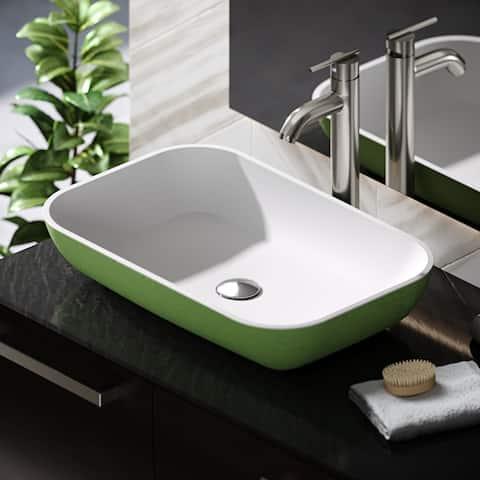 R11-5002-Sage Stone Composite Rectangular Vessel Sink Kit