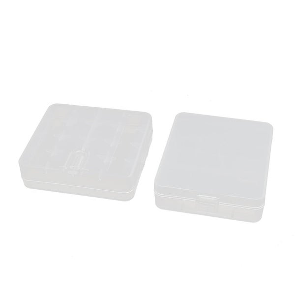 2Pcs 80mmx72mmx23mm Transparent Storage Case Hard Plastic Battery Organizer