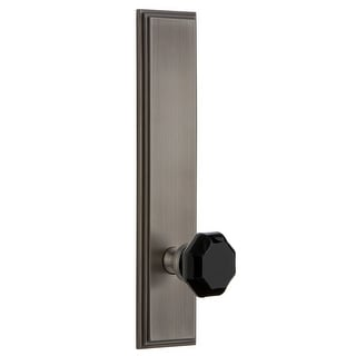 Grandeur CARLYO_TP_PRV_238_RH  Carre Solid Brass Tall Plate Right Handed Privacy Door Knob Set with Lyon Black Crystal Knob and