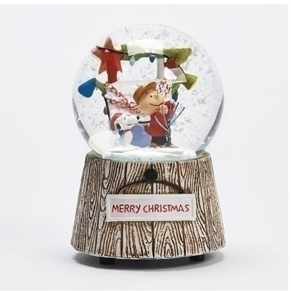 "4.5"" Musical Peanuts Charlie Brown and Snoopy Decorative Christmas Glitterdome"