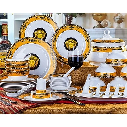 Luxury Medusa fine bone china dinnerware classy and elegant 58 piece *CLOSEOUT PRICING* - Free Shipping Today - Overstock - 20666558  sc 1 st  Overstock & Luxury Medusa fine bone china dinnerware classy and elegant 58 piece ...