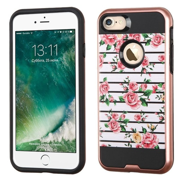 Insten Pink/ White Fresh Roses Hard Snap-on Dual Layer Hybrid Case Cover For Apple iPhone 7