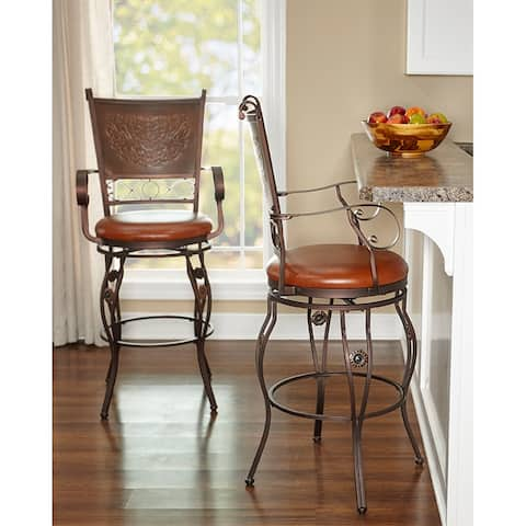 Aberdeen Stamped Back Big and Tall Barstool with Arms