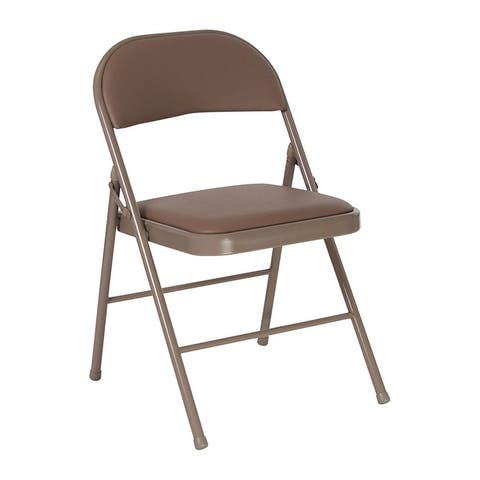 """Offex Double Braced Beige Vinyl Upholstered Padded Metal Folding Chair - 18""""D x 18""""W x 30.5""""H"""