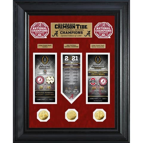 Alabama Crimson Tide 2020/21 Football National Champions Deluxe Gold Coin Road to The Championship Photo Mint - 18x22
