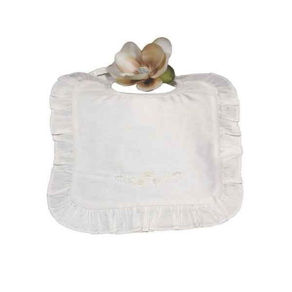 Little Things Mean A Lot Off-White Silk Dupioni Ruffle Bib