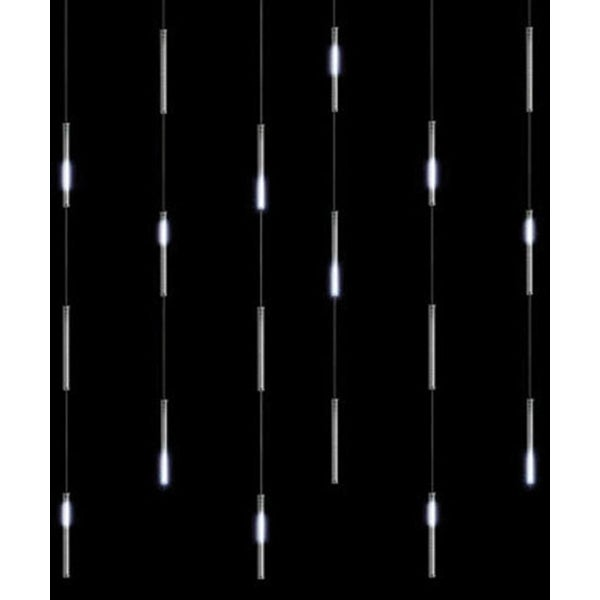 "Snowfall Curtain - Set of 18 Single-Sided 7"" LED Christmas Icicle Light Tubes - CLEAR"