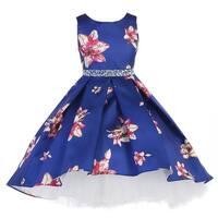 Little Girls Royal Blue Flower Rhinestone High-Low Special Occasion Dress
