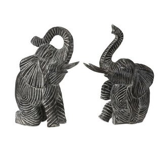 IMAX Home 83029-2 Bakari Wood Carved Elephants - Set of 2