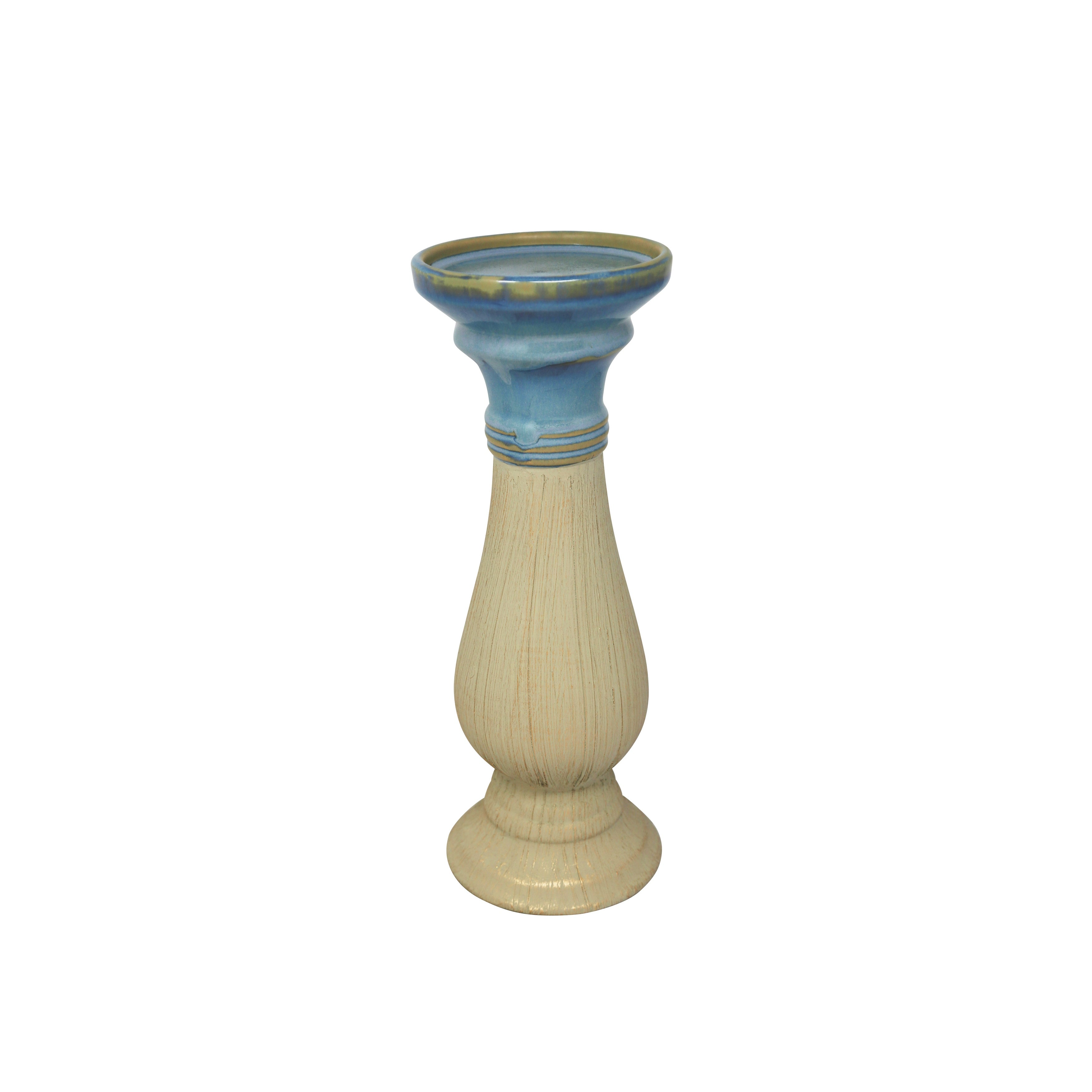 Dual Tone Decorative Ceramic Candle Holder with Circular Base, Blue and Beige