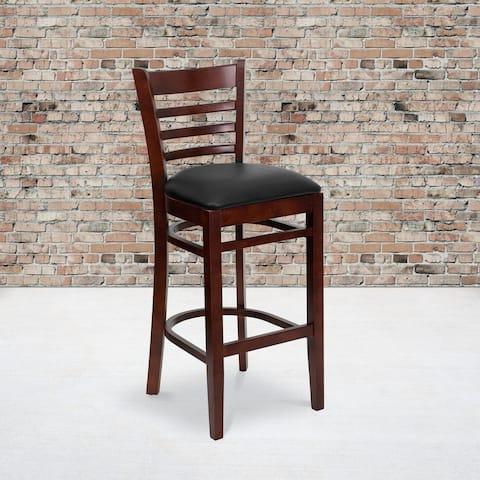 """Ladder Back Wooden Restaurant Barstool - 16.75""""W x 19""""D x 43.75""""H"""