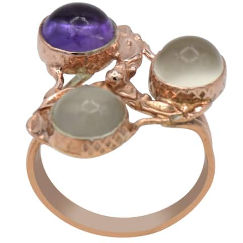 Moonstone, Amethyst Sterling Silver Round Cocktail Ring by Orchid Jewelry