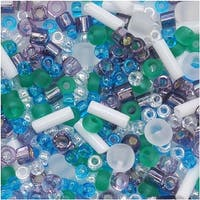 Toho Multi-Shape Glass Beads 'Fuji' White/Green/Blue/Purple Color Mix 8 Gram Tube