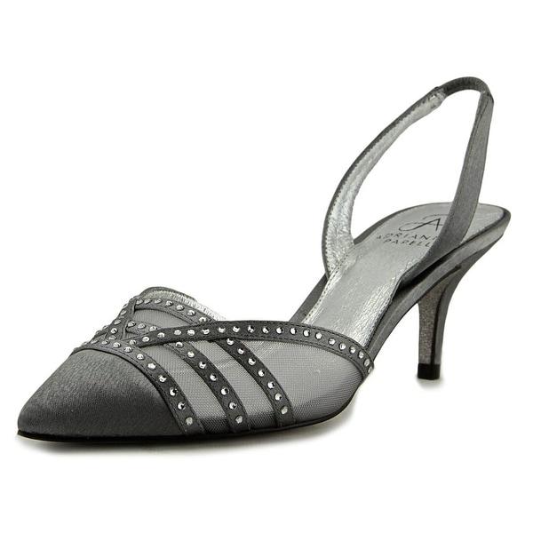 Adrianna Papell Hestia Women Pointed Toe Canvas Silver Slingback Heel