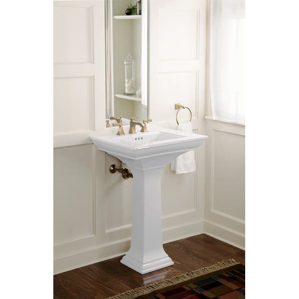 Kohler K 2345 8 Memoirs Stately 24 1 2 Fireclay Pedestal Bathroom Sink With 3 Holes Drilled And Overflow Overstock 18094770 Ice Grey