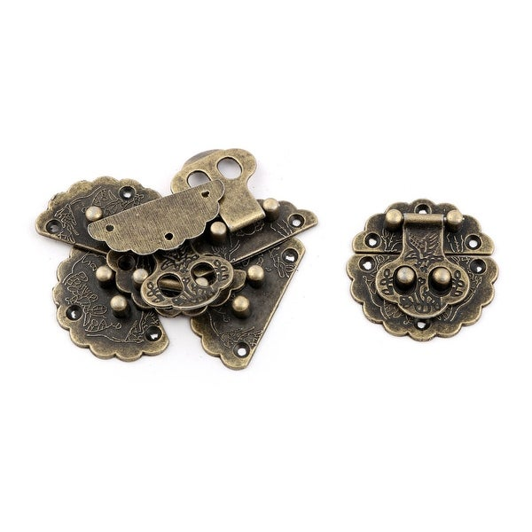 Metal Vintage Style Suitcase Decorative Hasp Latch Lock Bronze Tone 4 x 4cm 4pcs