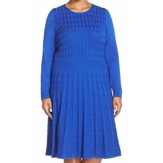 Eliza J NEW Blue Women's Size 1X Plus Textured A-Line Sweater Dress