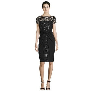David Meister Short Sleeve Sequined Lace Cocktail Evening Dress - 12