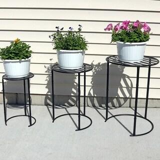 Sunnydaze Set of 3 Modern Indoor Outdoor Nesting Plant Stands - Assorted Sizes