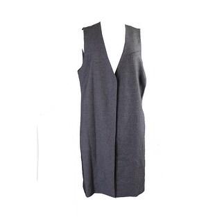 Alfani Plus Size Marled Black Open-Front Tweed Vest 2X