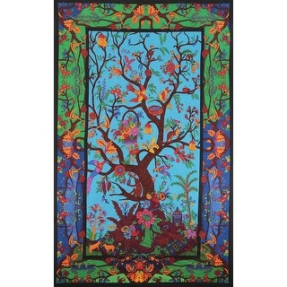 Handmade 100% Cotton 3D Tree of Life Multicolor Tapestry Tablecloth Spread 60x90