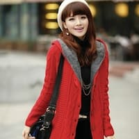 New women's winter clothes in the long hooded sweater coat plus warm cashmere coat thickness