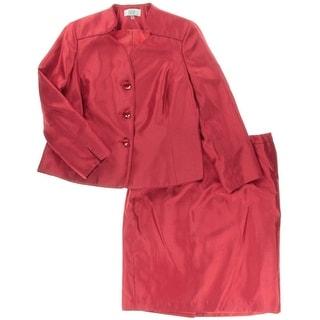 Le Suit Womens Plus Prague Shimmer Shoulder Pads Skirt Suit