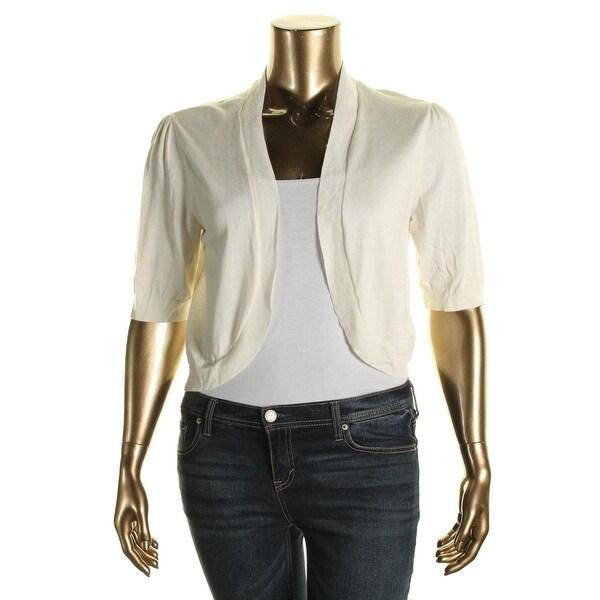 Lauren Ralph Lauren Womens Shrug Sweater Cotton Blend Elbow Sleeves