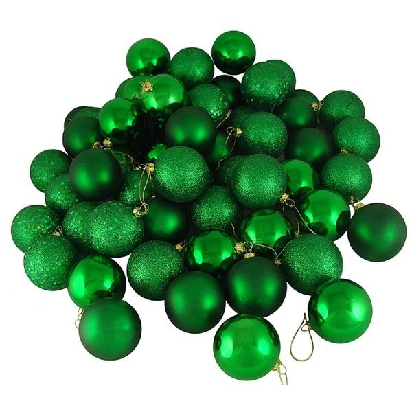"60ct Xmas Green Shatterproof 4-Finish Christmas Ball Ornaments 2.5"" (60mm)"