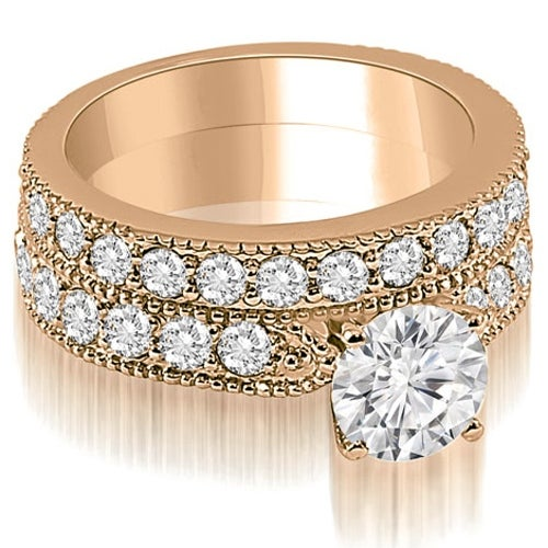 2.45 cttw. 14K Rose Gold Antique Milgrain Round Diamond Bridal Set