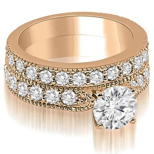 2.95 cttw. 14K Rose Gold Antique Milgrain Round Diamond Bridal Set