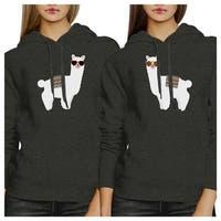 Llamas Sunglasses Dark Grey Pullover Hoodie Cute Best Friend Gifts