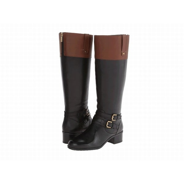 Bandolino NEW Black Brown Shoes Size 5W Knee-High Leather Boots