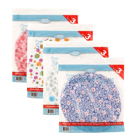 Kennedy 3-Pack Printed Shower Cap, Colors And Designs May Vary