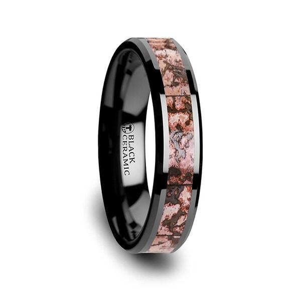 THORSTEN - CAMBRIAN Pink Dinosaur Bone Inlaid Black Ceramic Beveled Edged Ring