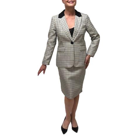 Danillo Notch Collar Checker 2-Piece Skirt Suit Style#545796