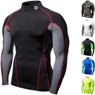 Tesla T12 Z-Series Premium Edition Long Sleeve Mock Turtleneck Compression Shirt (Option: Black)