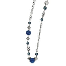 Silvertone Blue Bead & Crystal Necklace - 44in