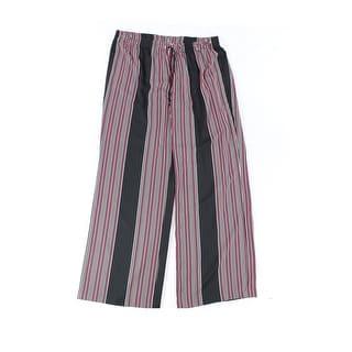 Calvin Klein NEW Black Striped Women's Size XL Wide Leg Casual Pants