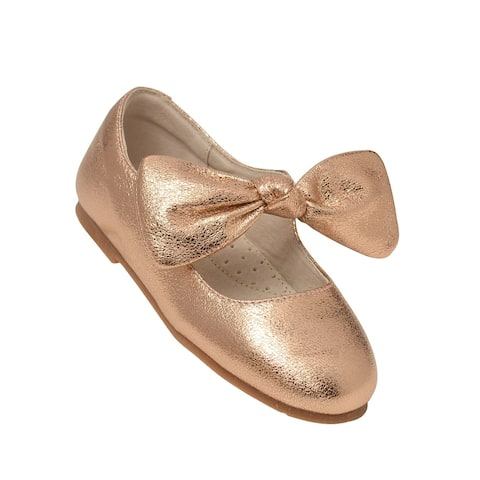 L`Amour Big Girls Rose Gold Celia Knotted Bow Mary Jane Shoes