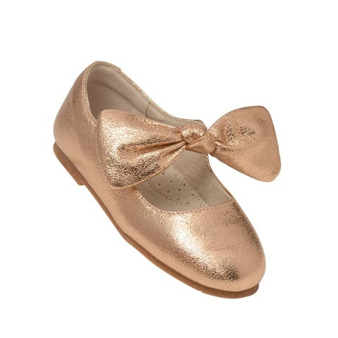 L`Amour Little Girls Rose Gold Celia Knotted Bow Mary Jane Shoes