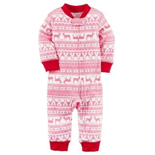 Carter's Baby Girls' Zip-Up Holiday Cotton Sleep & Play, 6 Months - pink fair isle