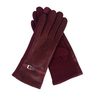 Mad Style Burgundy Distressed Leather Texting Gloves