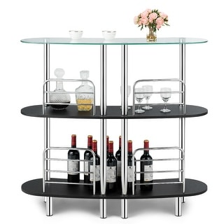 Costway Bar Table Wine Storage Home Liquor Pub Table w/Tempered Glass
